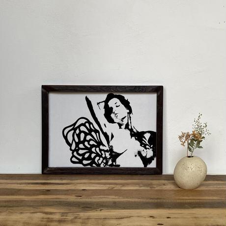 「モノクロアート Venus」A4 モノトーン ポスター & 木製 アンティーク 額縁 セット