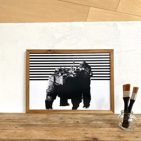 A3 ポスター プリント + 古材フレーム 「動物街シリーズ」 Gorilla x Berlin
