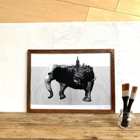 A3 ポスター プリント + 古材フレーム 「動物街シリーズ」 Elephant x New York