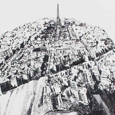 Rhino x Paris 手描き キャンバス モノクロアート F30号 (909mm×727mm)
