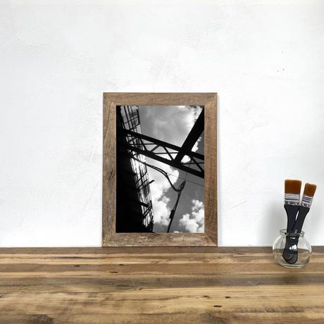 「モノクロアート Subway」A4 モノトーン ポスター & 木製 アンティーク 額縁 セット