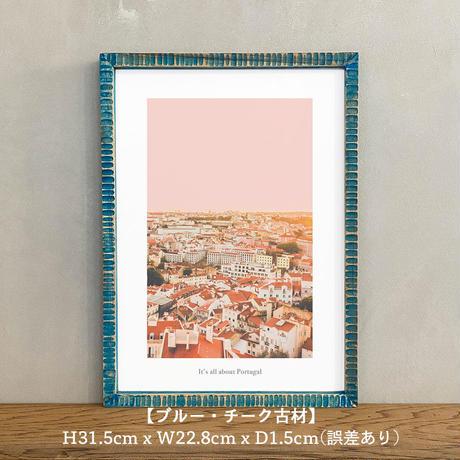 アートポスター インテリア A4 + 額縁 フレーム 木製 「 38°42′29″N 9°8′18″W 」It's all about Portugal No.9