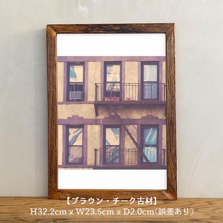 ポスター アート A4 + ポスターフレーム 木製「Little House of Savages - ニューヨーク マンハッタン T264」