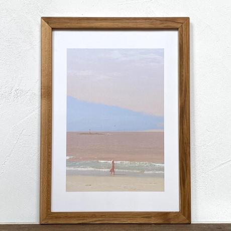 A lady in pink「水彩」  A4 ポスター アート & アンティーク 木製 フレーム