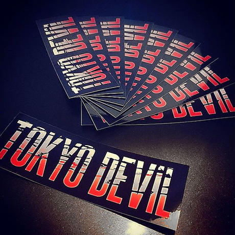 TOKYO DEVIL RED STICKER - 東京 デビル ステッカー / ギター ベ ース