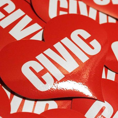 CIVIC HEART RED STICKER - シビック ハート レッド ステッカー  / HONDA ホンダ JDM 無限 USDM hellaflush