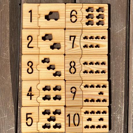 数字の絵合わせパズルカード