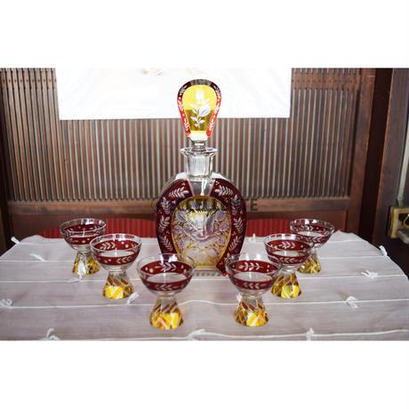 【アンティーク洋食器】【ボヘミアガラス】アールデコ ハンドカット・ボヘミアクリスタルガラス・リキュールセット