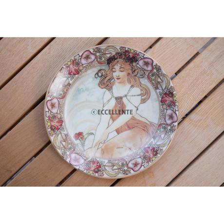 【東欧雑貨】ミュシャ飾り絵皿 M