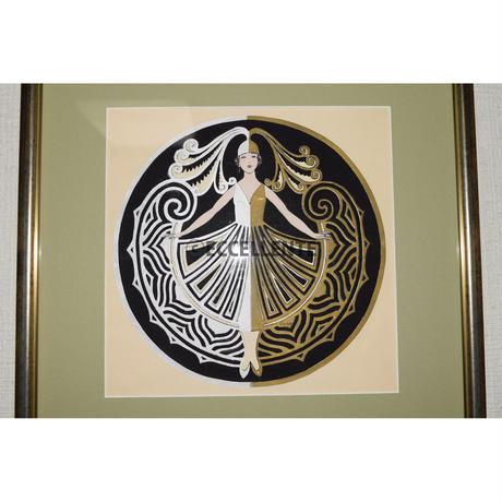 【アンティーク雑貨】【リトグラフ】アールデコ 衣装を纏った女性(額装済み)