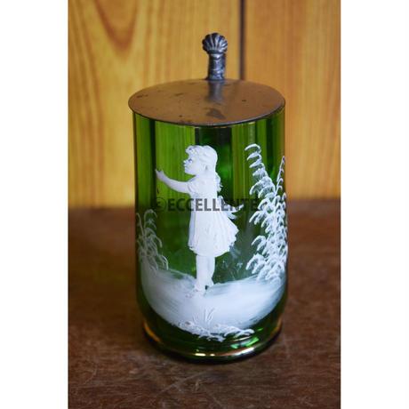 【アンティーク洋食器】【ボヘミアガラス】【マリー・グレゴリー】アールヌーボー 白エナメル・ハンドペイント・ガラスカップ