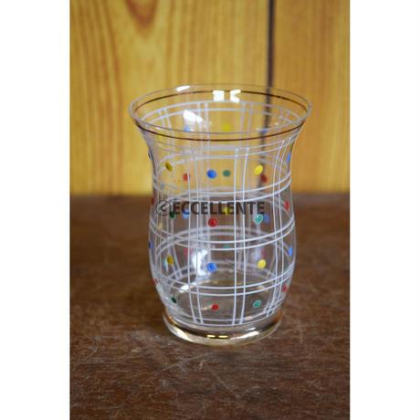 【ヴィンテージ洋食器】【ボヘミアガラス】ハンドペイント ドットグラス