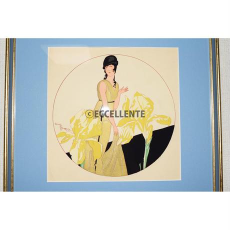 【アンティーク雑貨】【リトグラフ】アールデコ 花と女性(額装済み)