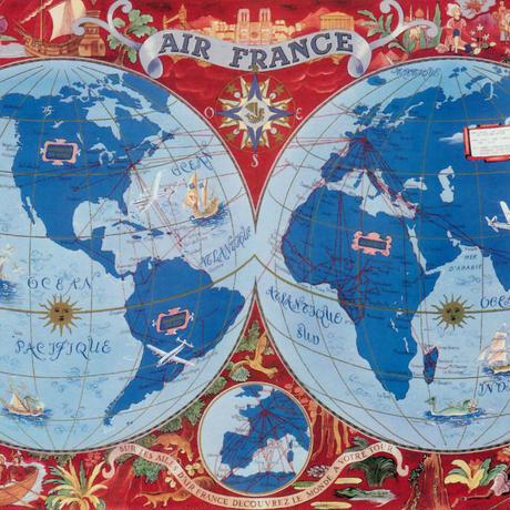 Air France(エール・フランス) 地球地図ポスター Lucien Boucher