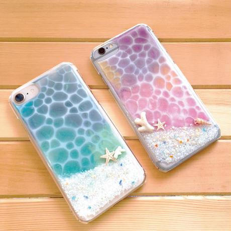 青い海のスマートフォンケース <iphone7,8、iPhone X, Xs対応>