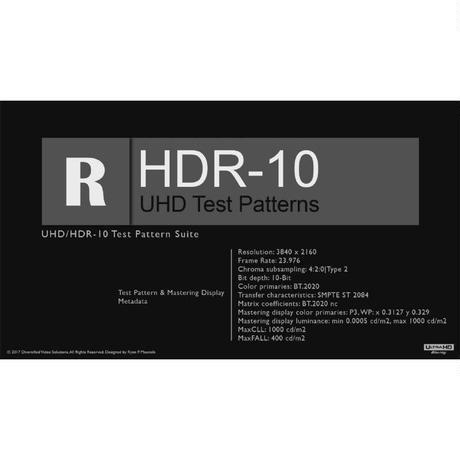 DVS UHD|HDR-10 & HLG-HDR Test Pattern Suite File Package Bundle(MP4/TS)[デジタルダウンロード版」