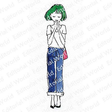 緑の髪の女の子イラスト