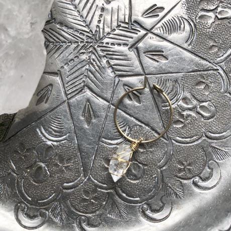 スモールフープピアス/クリスタル×真鍮