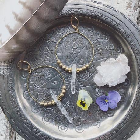 Crystal/Metal Beads Hoop Earrings