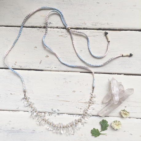 Little Crystal/Cotton Code Necklace