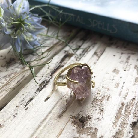 天然石真鍮リング L/アメジストB