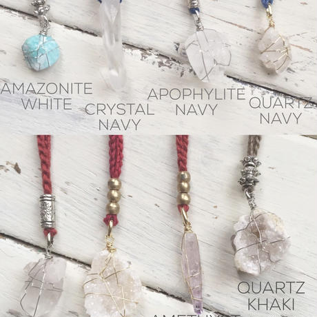Gemstone / Cotton Code Necklace