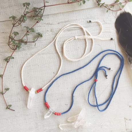 Crystal/White Hearts Cotton Code Necklace