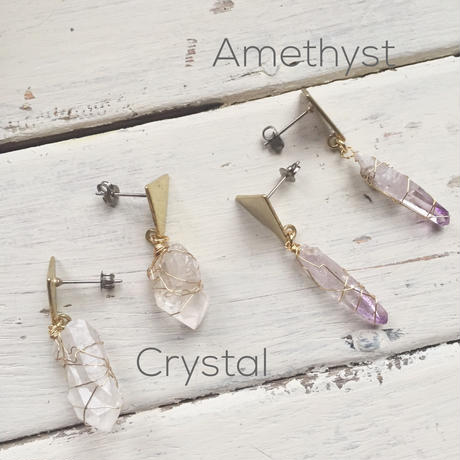 Triangle wrapped Crystal Earrings