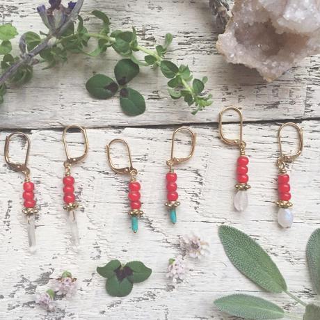 Gemstone/White Hearts  Earrings