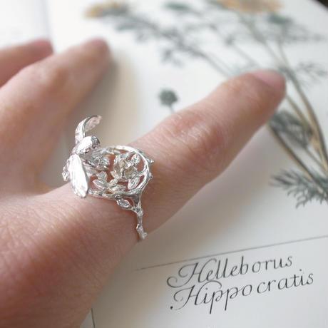 【受注制作】ふくろうと星のリング (ブラウンダイヤモンド)