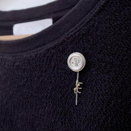 【受注制作】ボタンとありのブローチ(シルバー・真鍮あり)