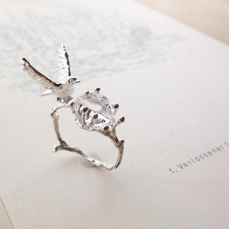 【受注制作】つぐみと宝物のリング(ハーキマークォーツ・シルバー)