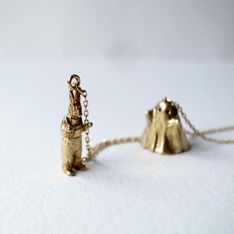 【受注制作】おばけのふりをするうさぎのネックレス(真鍮)