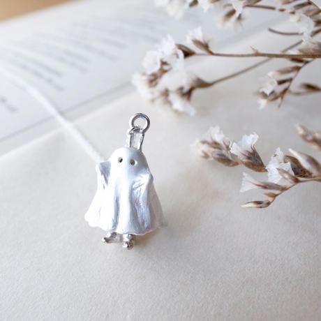 【受注制作】おばけのふりをするうさぎのネックレス(白仕上げ×シルバー)