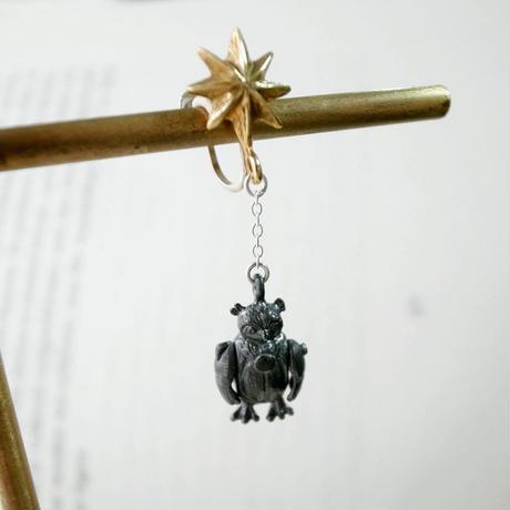 【受注制作】星とぬいぐるみのふくろうのイヤリング