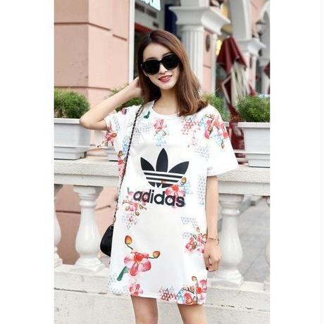 春セール! 人気 アディダス最新作 花柄 2色 可愛い ポケット付き ワンピース ファッション