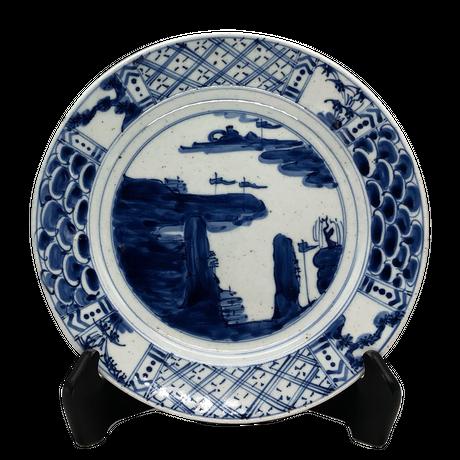 山水丸皿(大)
