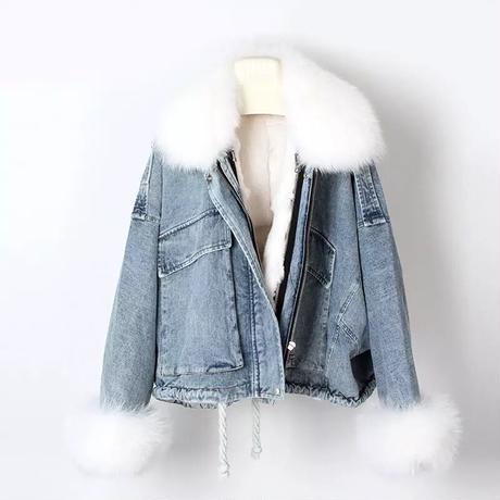 【3colour】Jeans fur jacket