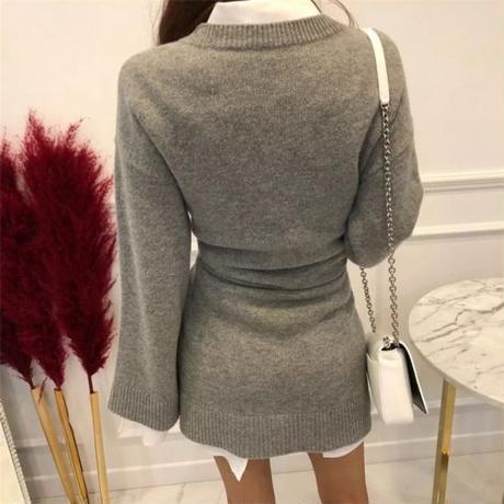 【2colour】【2piece set】Blouse ➕ knit skirt
