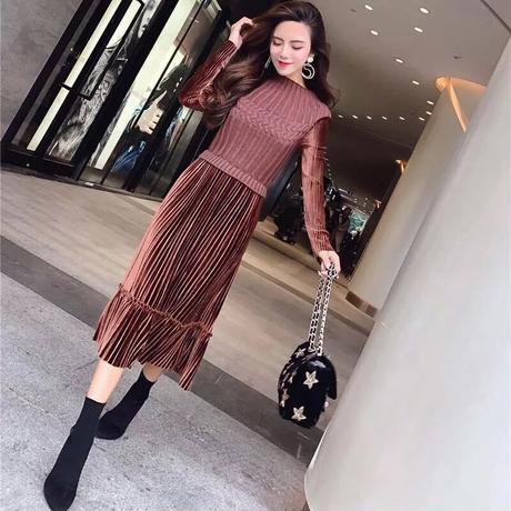 【3colour】Velor knitskirt