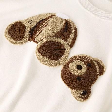 【2colour】Bear knit tops
