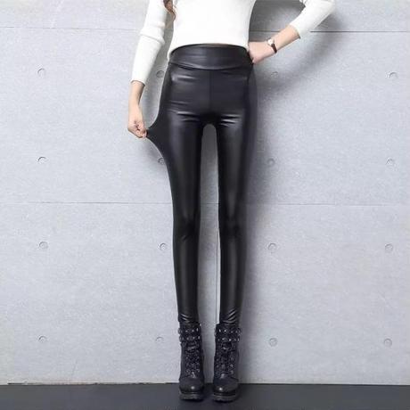 High-waist leather pants