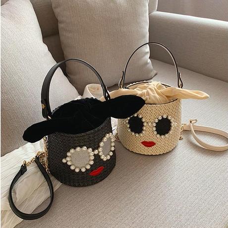 【2colour】straw 2waybag