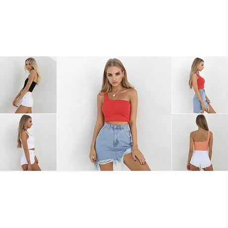 【5colour 】one-shoulder sexy tops