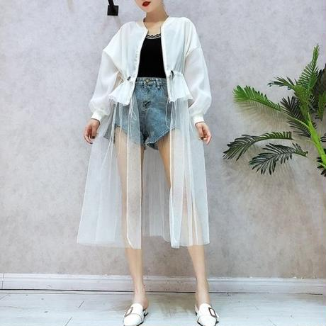 【2colour 】see-through long cardigan