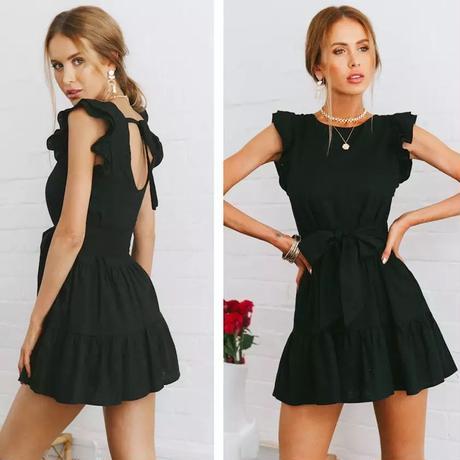frill black skirt