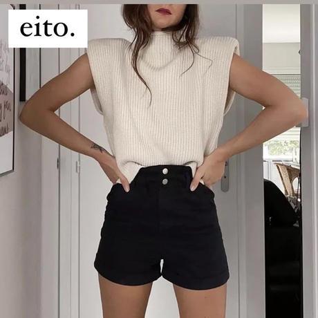 【3colour】turtleneck sleeveless sweater