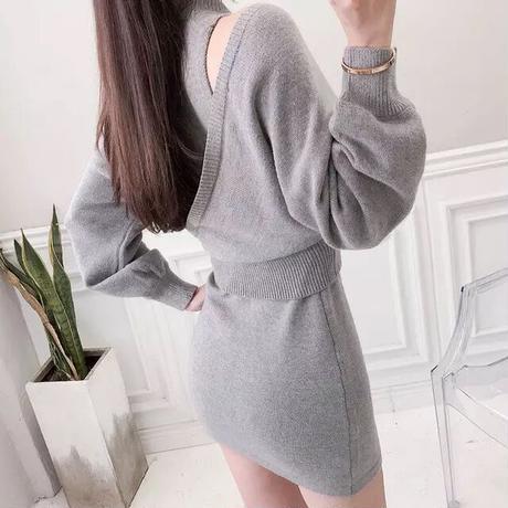 【2piece set】Knit tops ➕ miniskirts