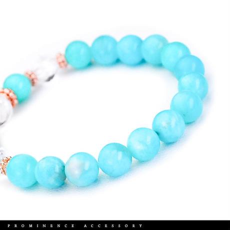 【天然石 | アマゾナイト・天然水晶・ピンクゴールド・ブレスレット-01】心身浄化・深い癒し・ストレス緩和・精神安定・パワーストーン