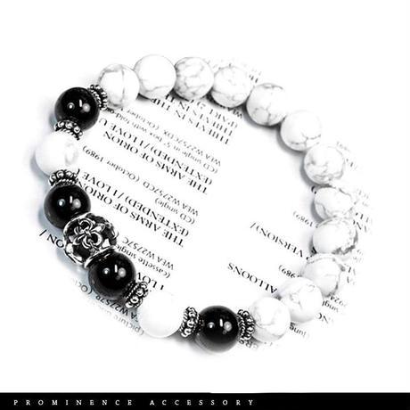 【天然石 | オニキス・マグネサイト・シルバー925・百合紋章ブレスレット】守護・魔除け・疲労回復・パワーストーン